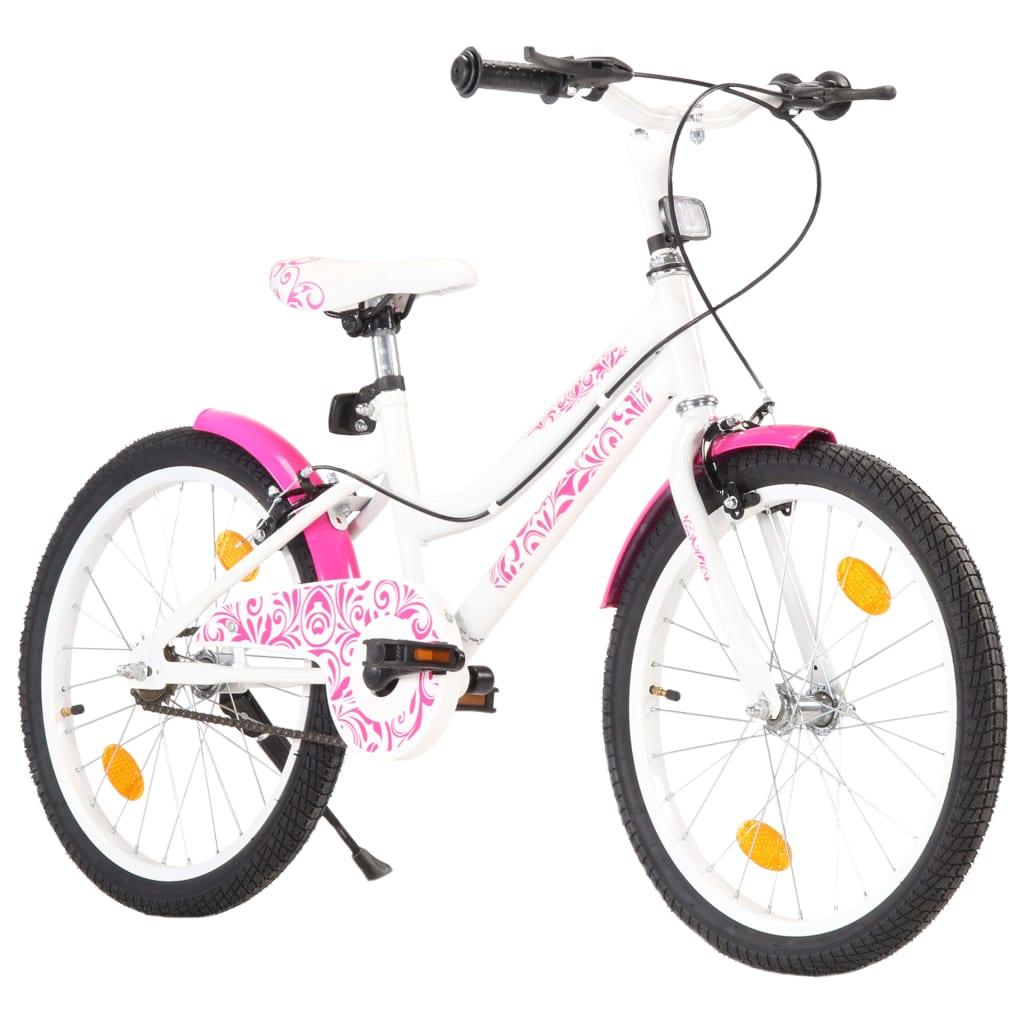 vidaXL Bicicletă pentru copii, roz și alb, 20 inci imagine vidaxl.ro