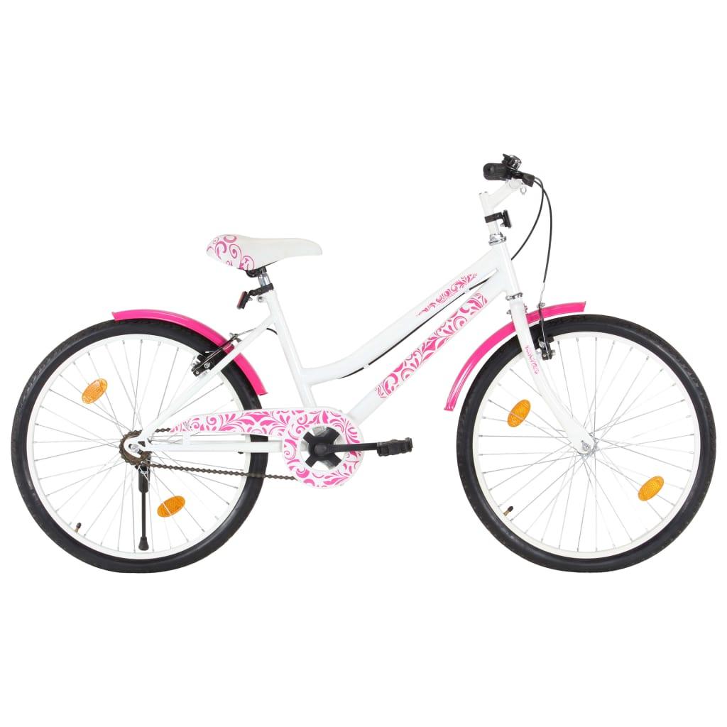 vidaXL Bicicletă pentru copii, roz și alb, 24 inci imagine vidaxl.ro