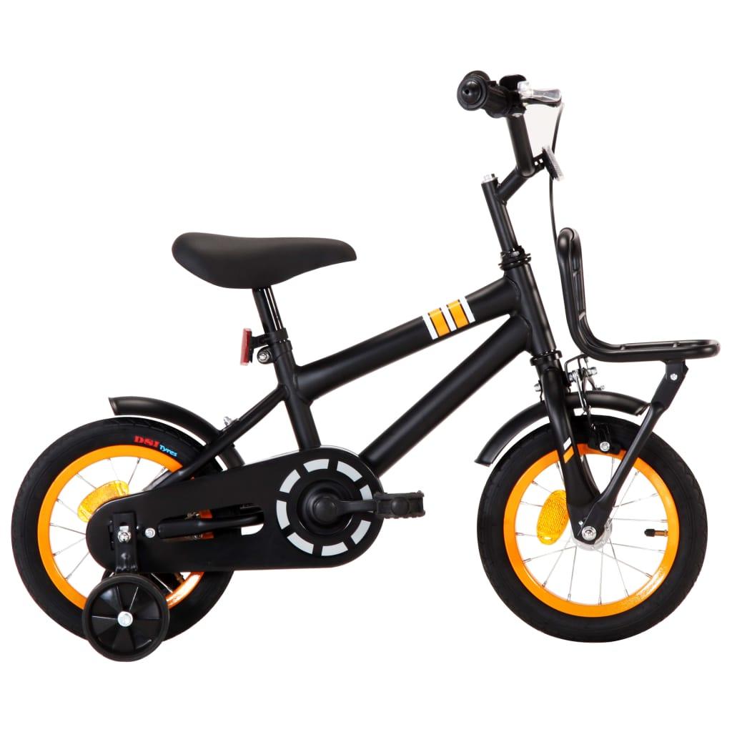 vidaXL Kinderfiets met voordrager 12 inch zwart en oranje