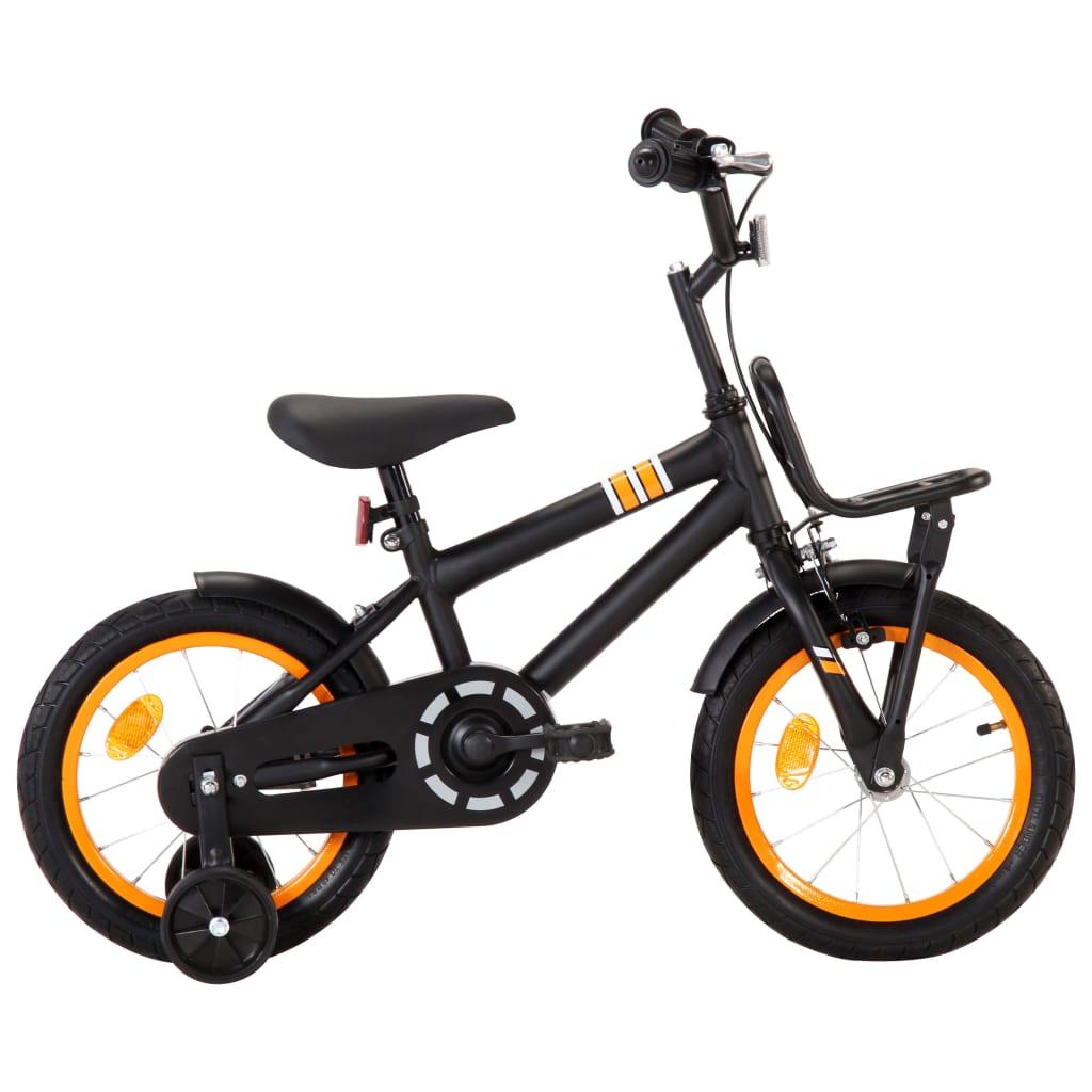 vidaXL Dětské kolo s předním nosičem 14'' černo-oranžové