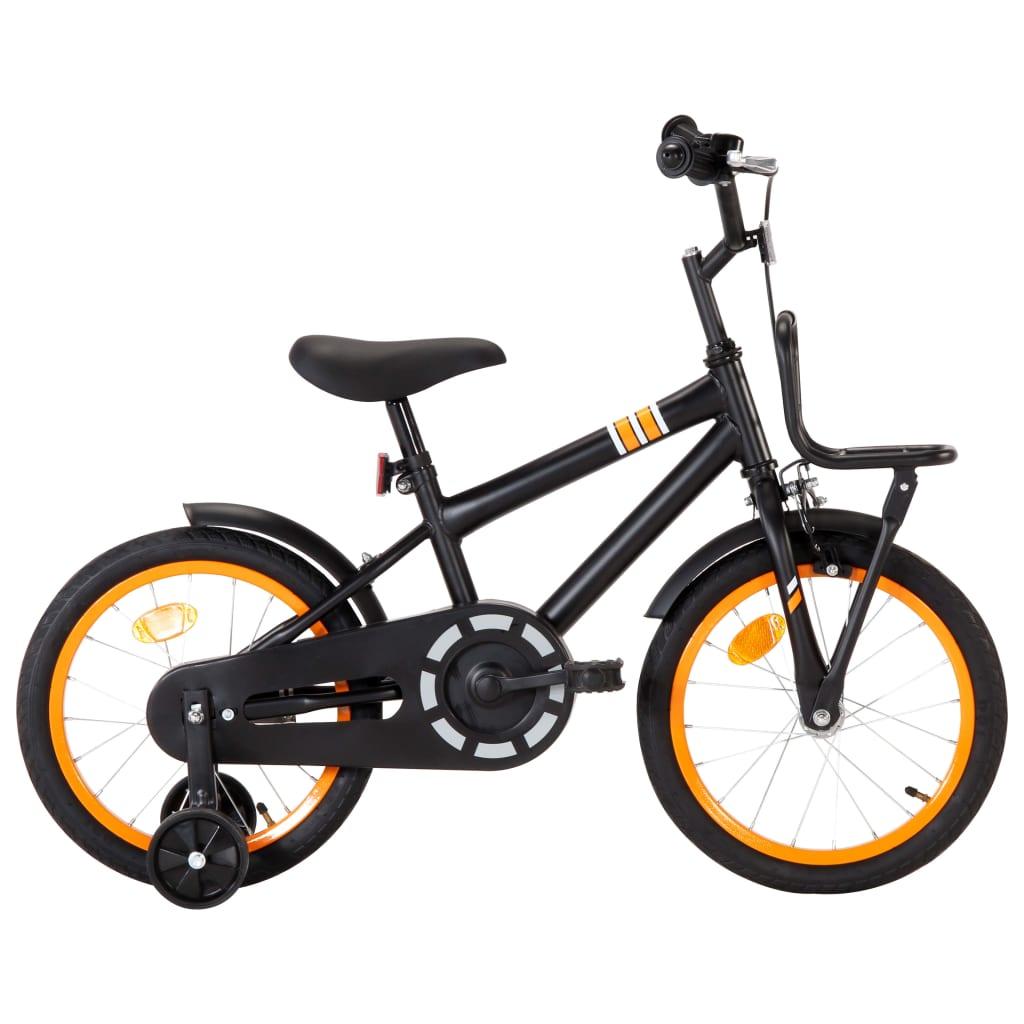 vidaXL Kinderfiets met voordrager 16 inch zwart en oranje