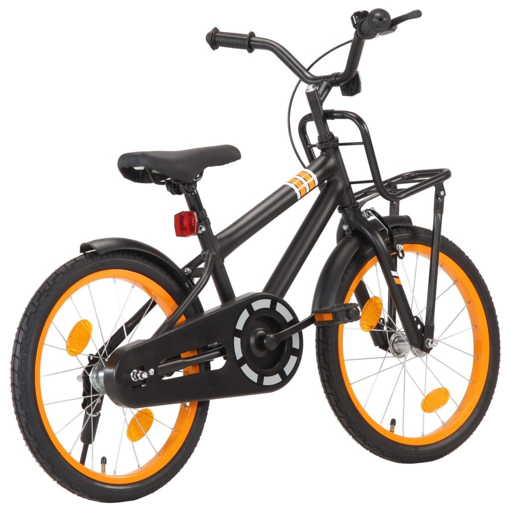 Laste jalgratas esipakiraamiga, 18'', must ja ora..