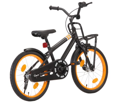 vidaXL Kids Bike with Front Carrier 18 inch Black and Orange