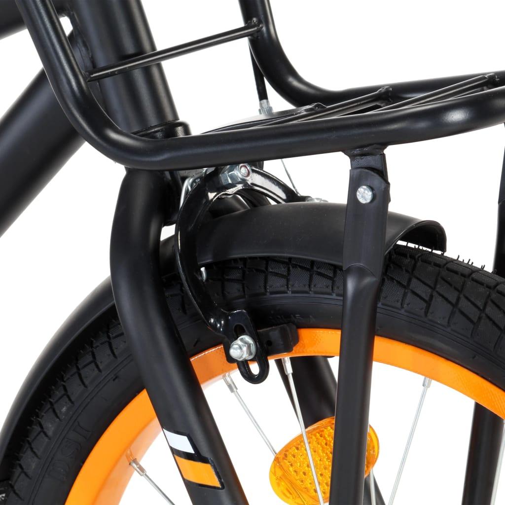vidaXL Kinderfiets met voordrager 18 inch zwart en oranje