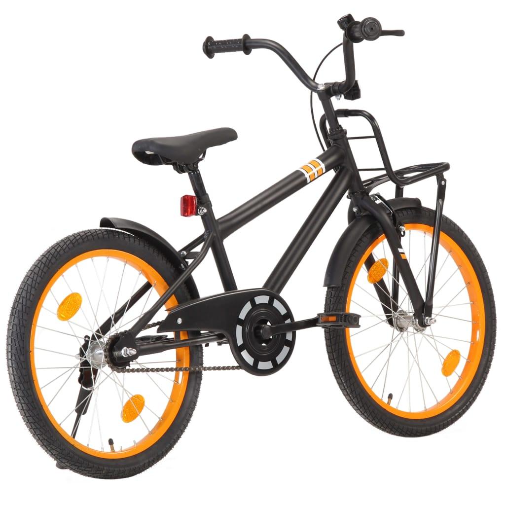 vidaXL Dětské kolo s předním nosičem 20'' černo-oranžové