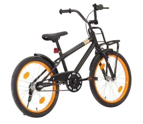 vidaXL Kinderfiets met voordrager 20 inch zwart en oranje