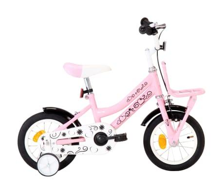 vidaXL børnecykel med frontlad 12 tommer hvid og pink