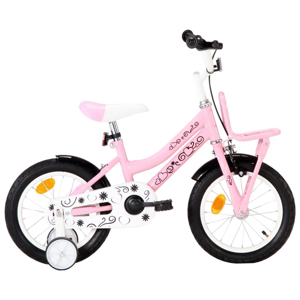 vidaXL Dětské kolo s předním nosičem 14'' bílo-růžové