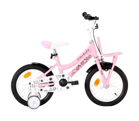vidaXL børnecykel med frontlad 14 tommer hvid og pink