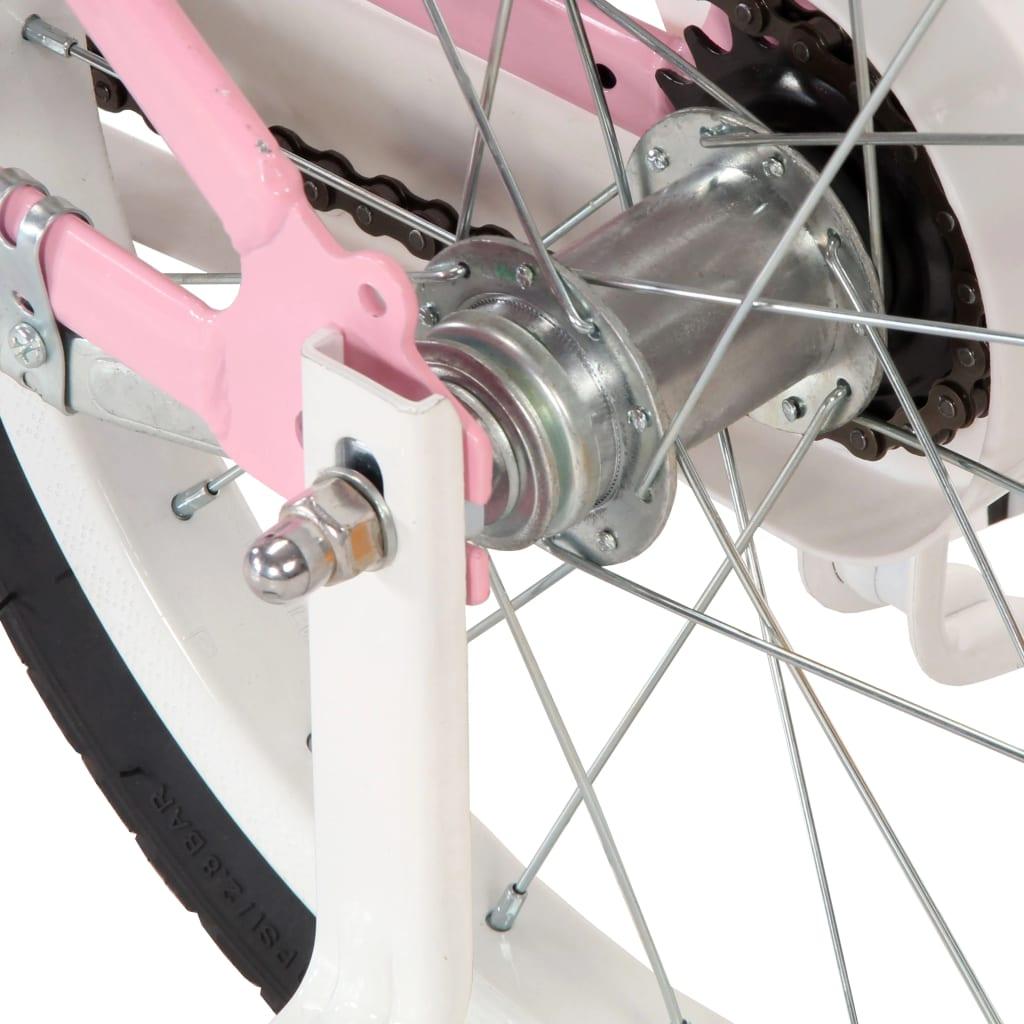 vidaXL Kinderfiets met voordrager 14 inch wit en roze