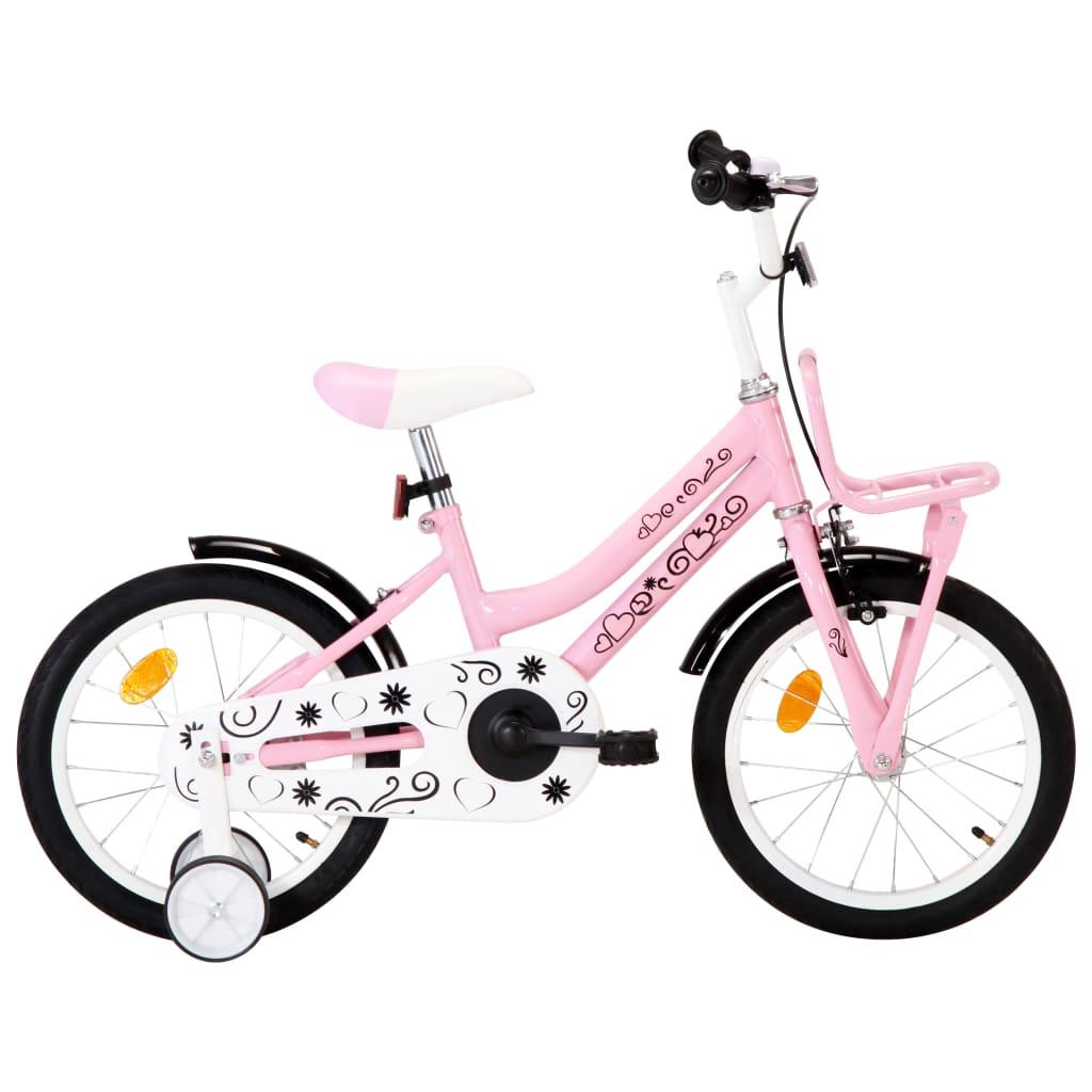 vidaXL Kinderfiets met voordrager 16 inch wit en roze
