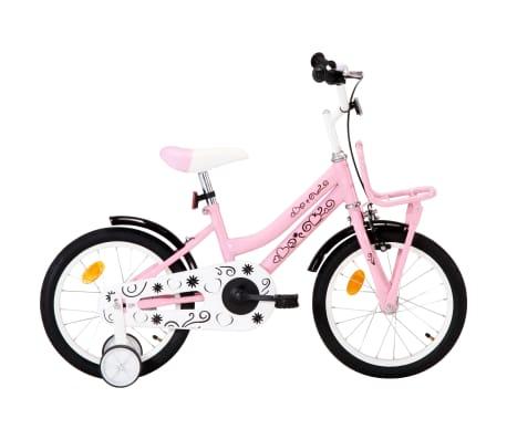 vidaXL Barncykel med frampakethållare 16 tum vit och rosa