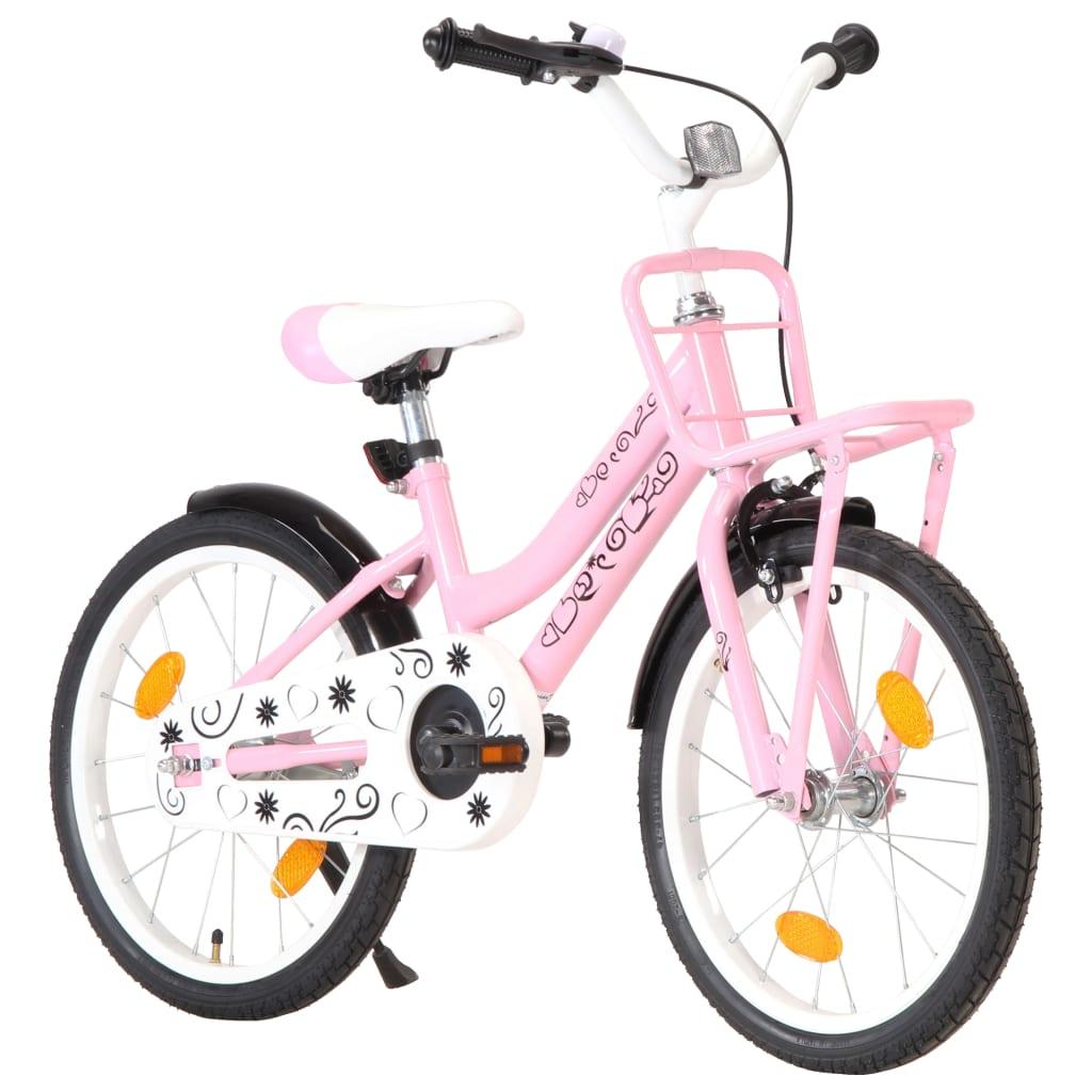vidaXL Dětské kolo s předním nosičem 18'' růžovo-černé