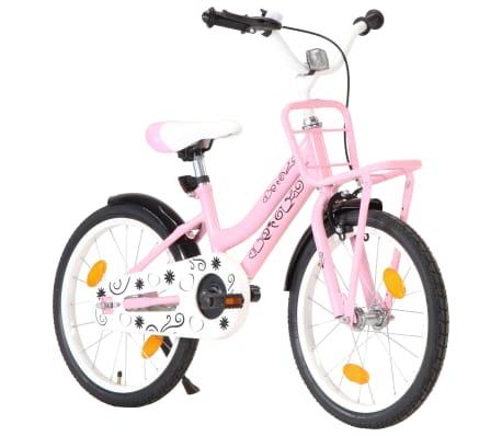 vidaXL børnecykel med frontlad 18 tommer lyserød og sort