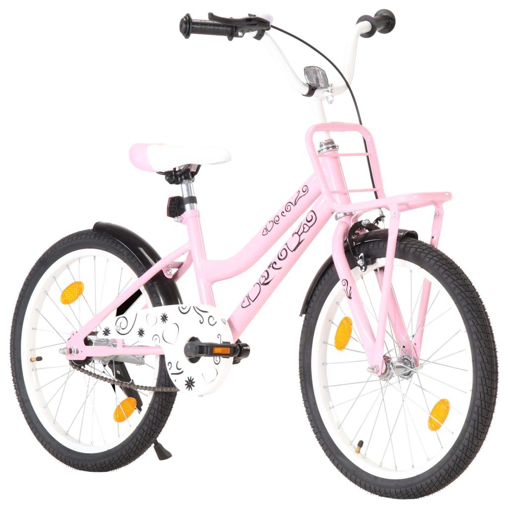 vidaXL Bicicletă de copii cu suport frontal, roz și negru, 20 inci imagine vidaxl.ro
