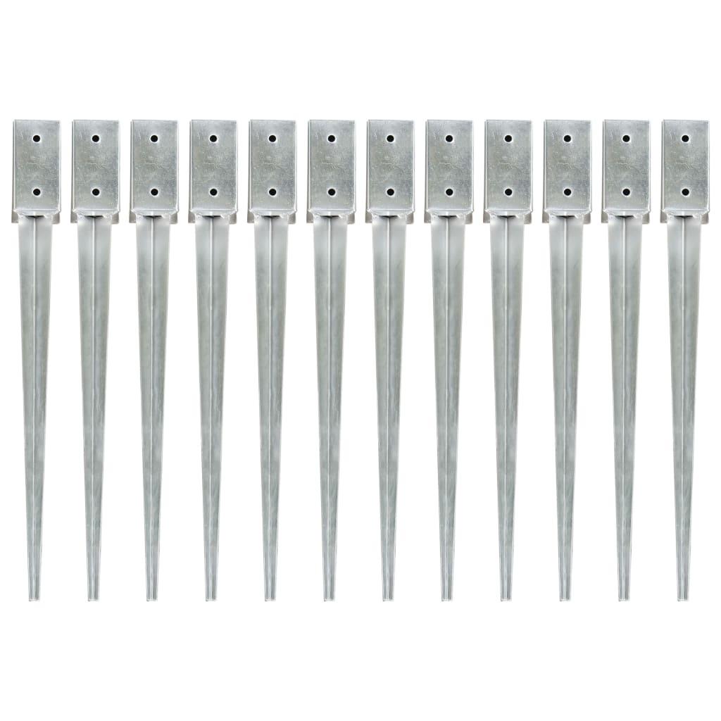vidaXL Țăruși de sol, 12 buc., argintiu, 7x7x75 cm, oțel galvanizat vidaxl.ro