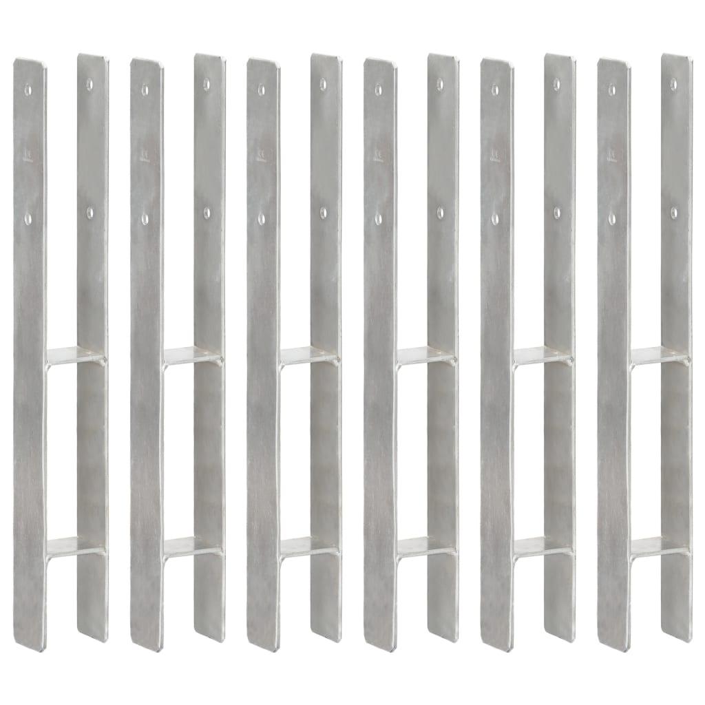 vidaXL Plotové kotvy 6 ks stříbrné 7 x 6 x 60 cm pozinkovaná ocel