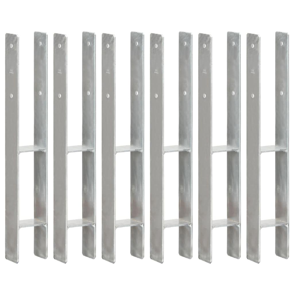 vidaXL Plotové kotvy 6 ks stříbrné 8 x 6 x 60 cm pozinkovaná ocel
