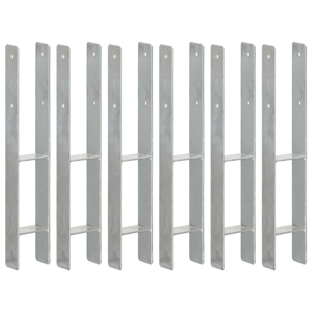 vidaXL Plotové kotvy 6 ks stříbrné 9 x 6 x 60 cm pozinkovaná ocel
