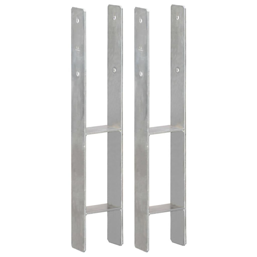 vidaXL Plotové kotvy 2 ks stříbrné 10 x 6 x 60 cm pozinkovaná ocel