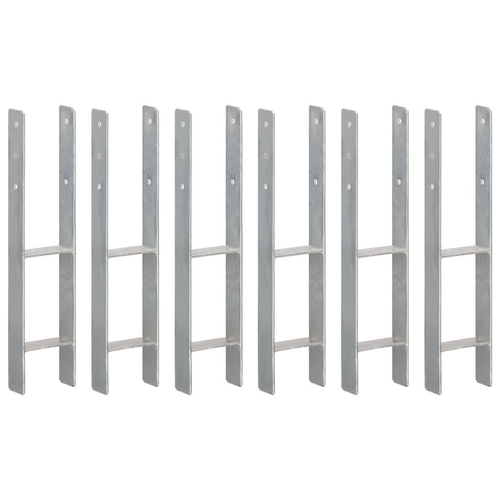 vidaXL Plotové kotvy 6 ks stříbrné 12 x 6 x 60 cm pozinkovaná ocel