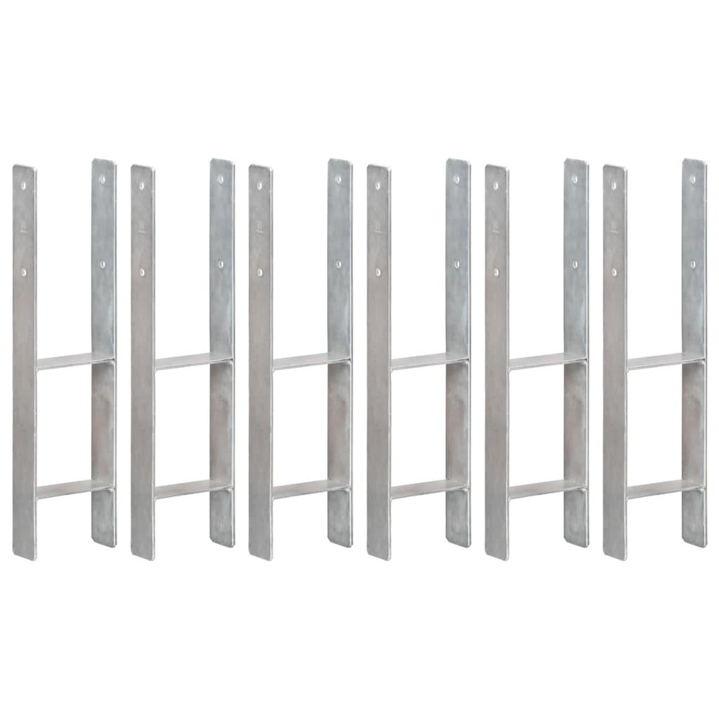 vidaXL Plotové kotvy 6 ks stříbrné 14 x 6 x 60 cm pozinkovaná ocel