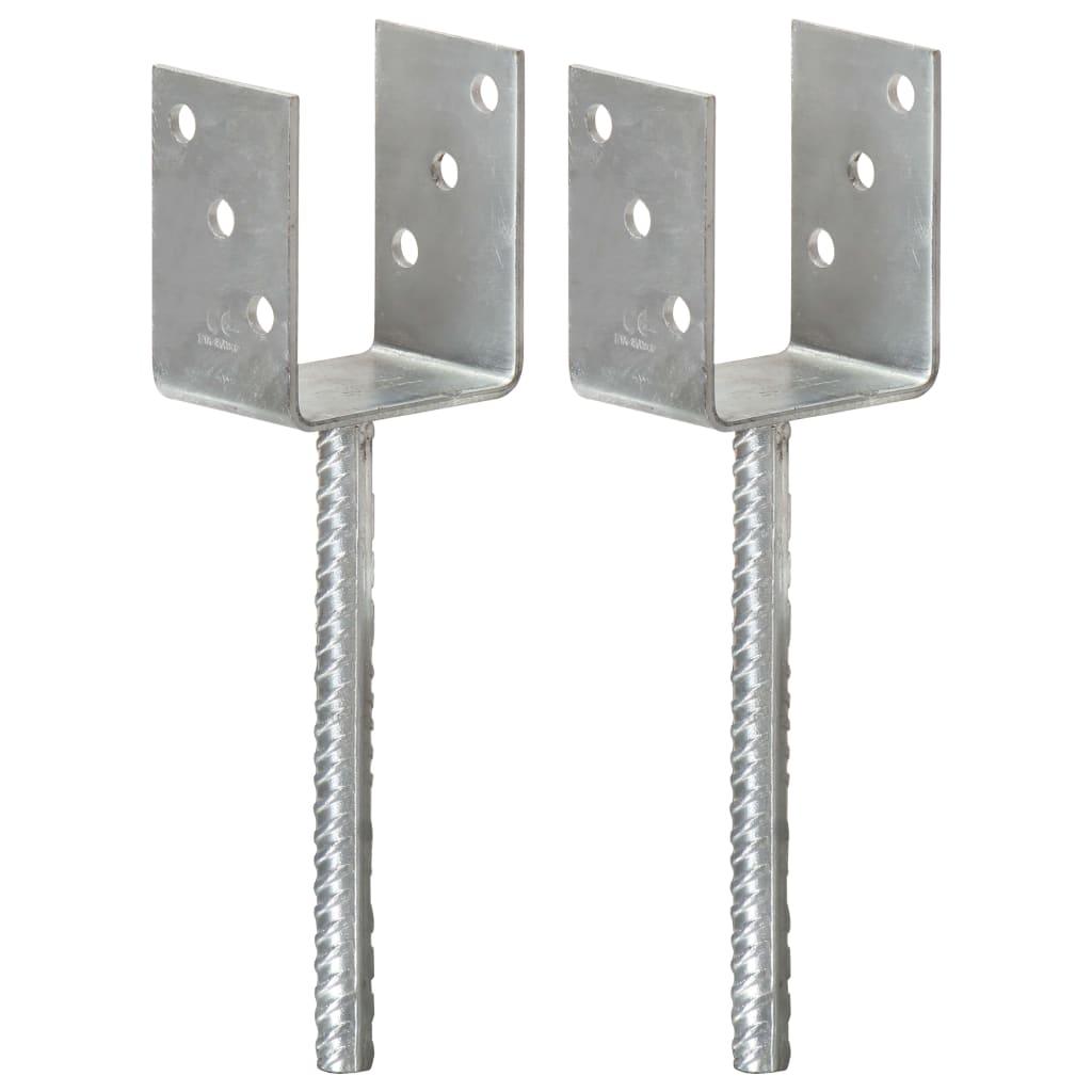 vidaXL Plotové kotvy 2 ks stříbrné 8 x 6 x 30 cm pozinkovaná ocel