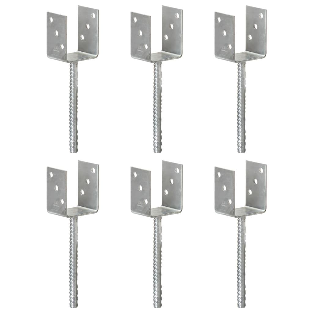 vidaXL Ancore de gard, 6 buc., argintiu, 8x6x30 cm, oțel galvanizat vidaxl.ro
