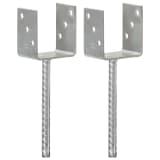 vidaXL Fence Anchors 2 pcs Silver 9x6x30 cm Galvanised Steel