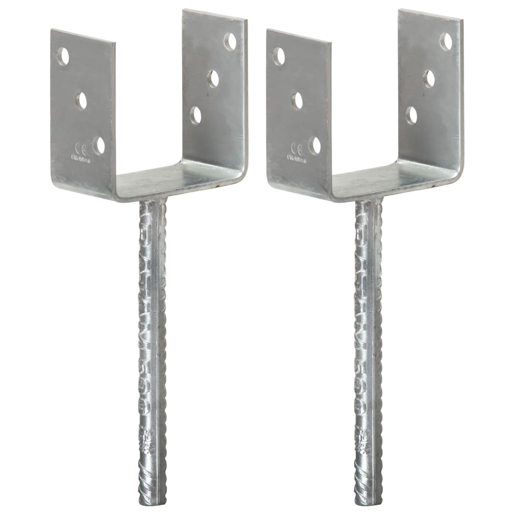 vidaXL Plotové kotvy 2 ks stříbrné 10 x 6 x 30 cm pozinkovaná ocel