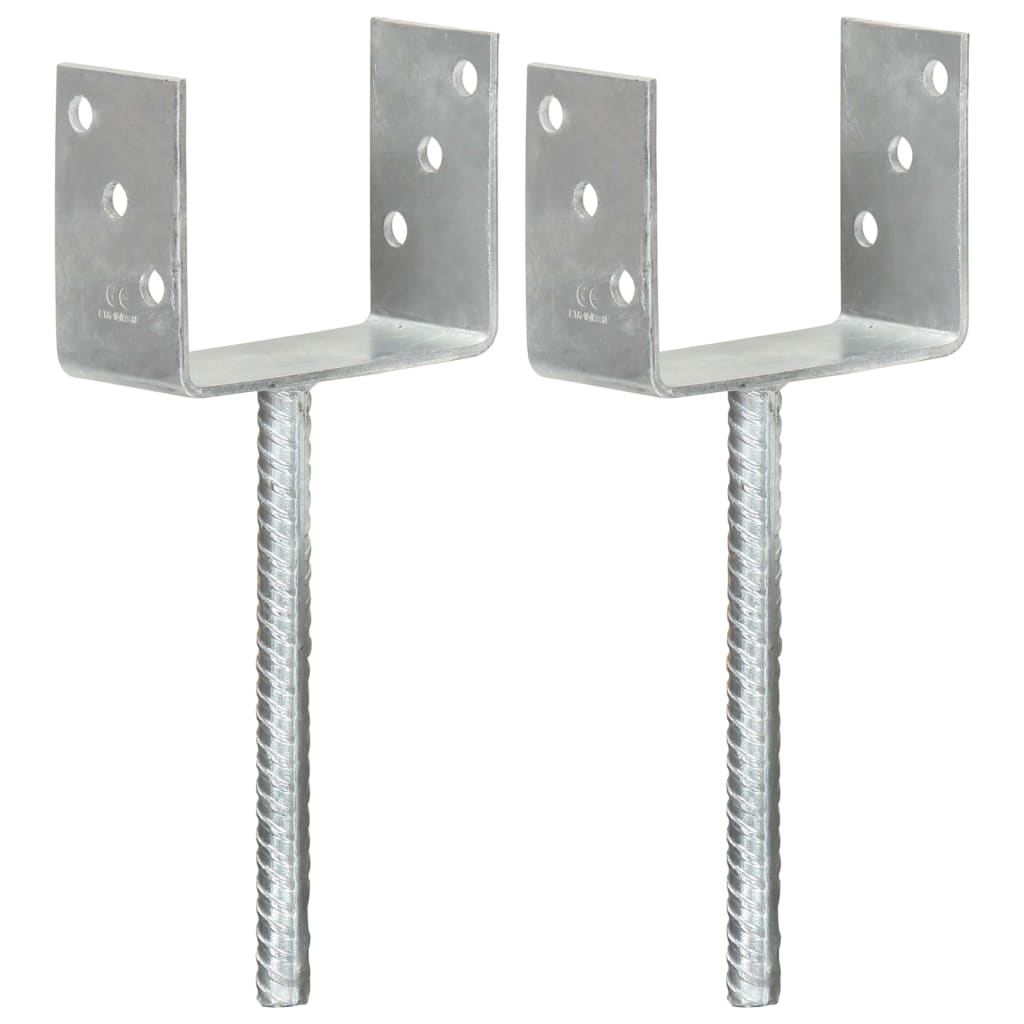 vidaXL Plotové kotvy 2 ks stříbrné 12 x 6 x 30 cm pozinkovaná ocel
