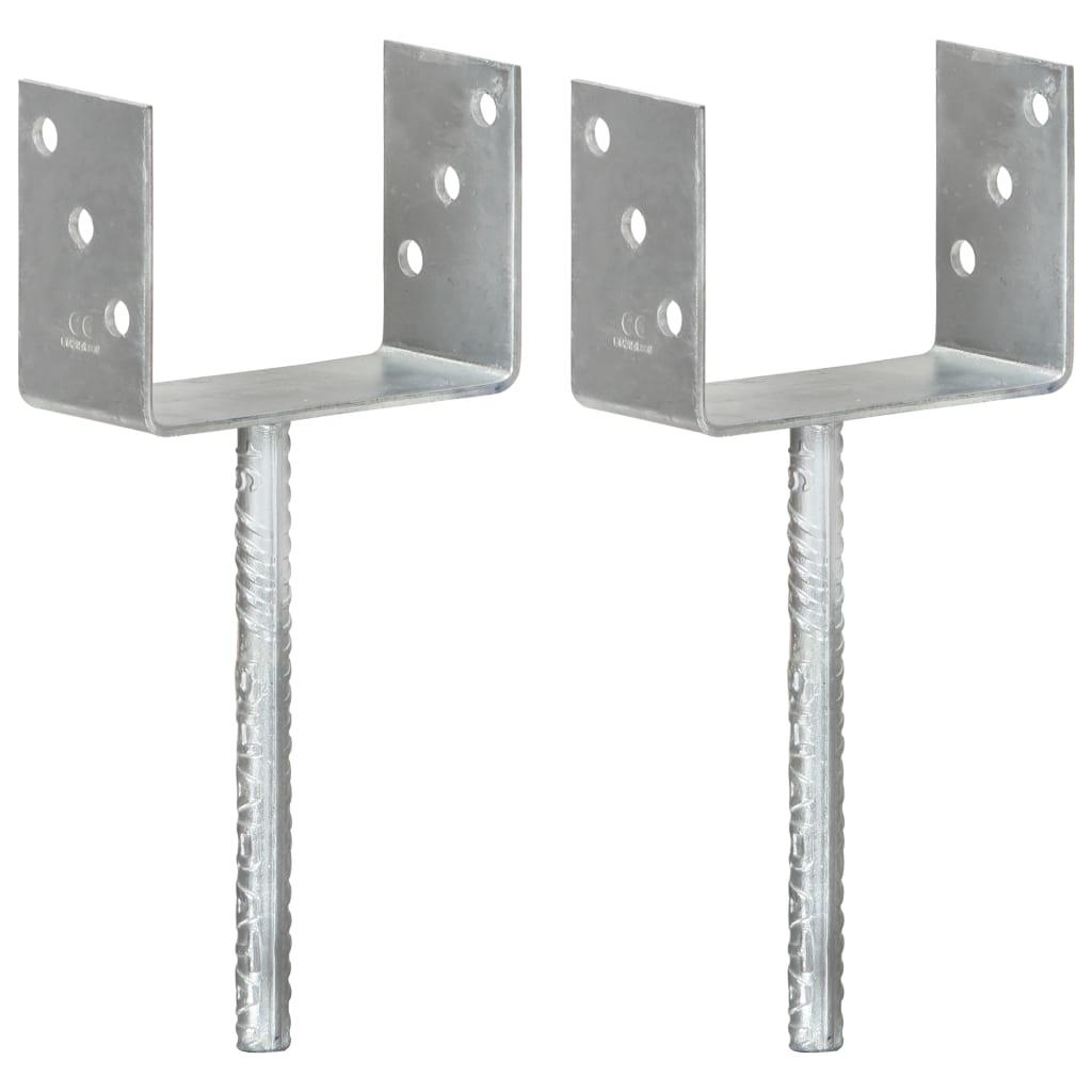 vidaXL Plotové kotvy 2 ks stříbrné 14 x 6 x 30 cm pozinkovaná ocel