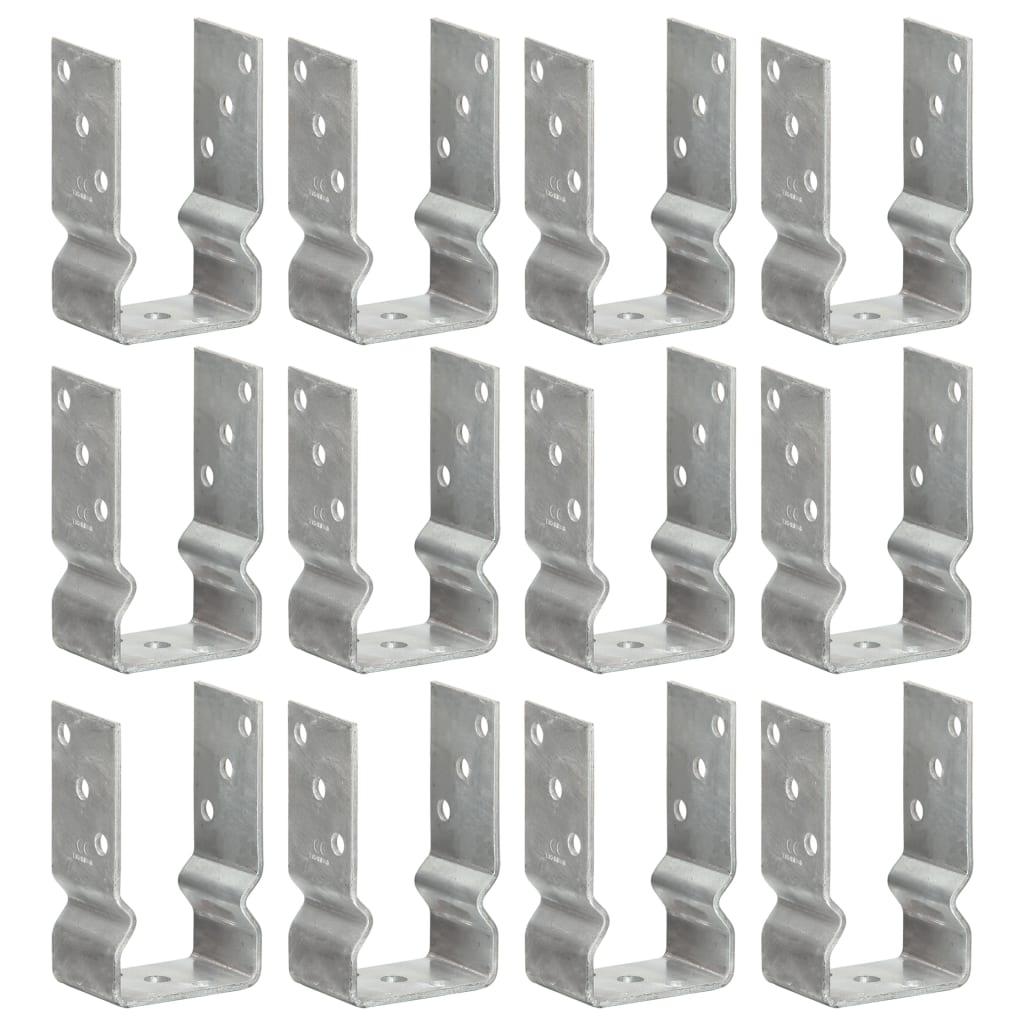 vidaXL Plotové kotvy 12 ks stříbrné 8 x 6 x 15 cm pozinkovaná ocel
