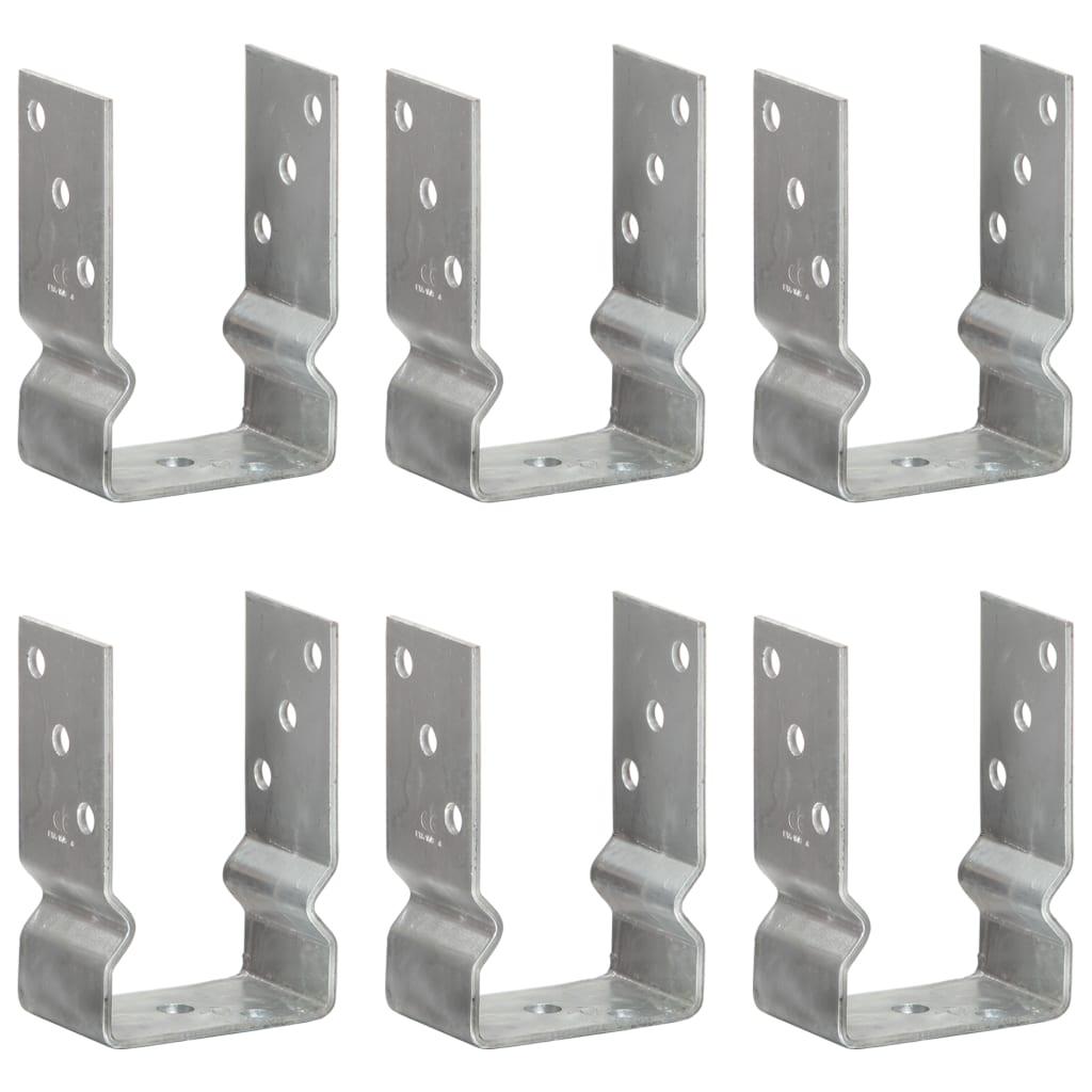 vidaXL Plotové kotvy 6 ks stříbrné 9 x 6 x 15 cm pozinkovaná ocel