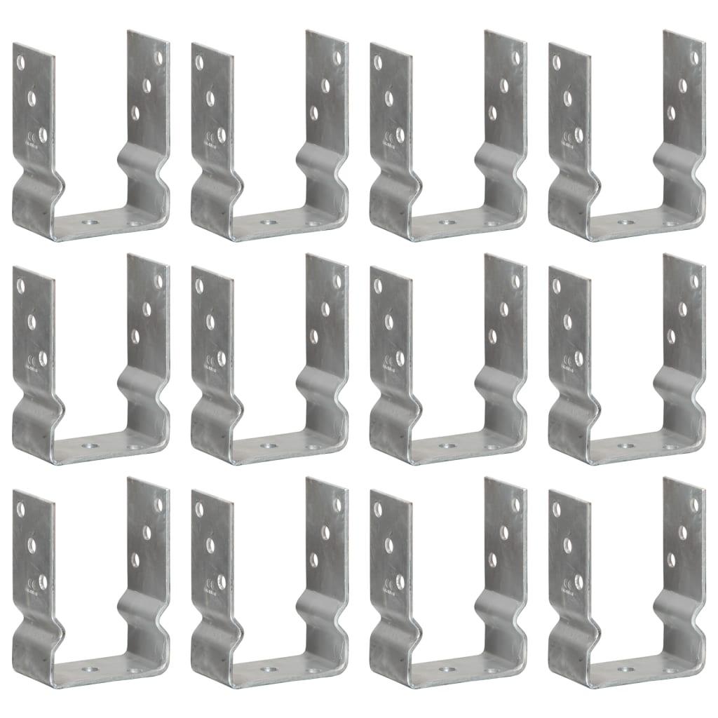 vidaXL Ancore de gard, 12 buc., argintiu, 10x6x15 cm, oțel galvanizat vidaxl.ro