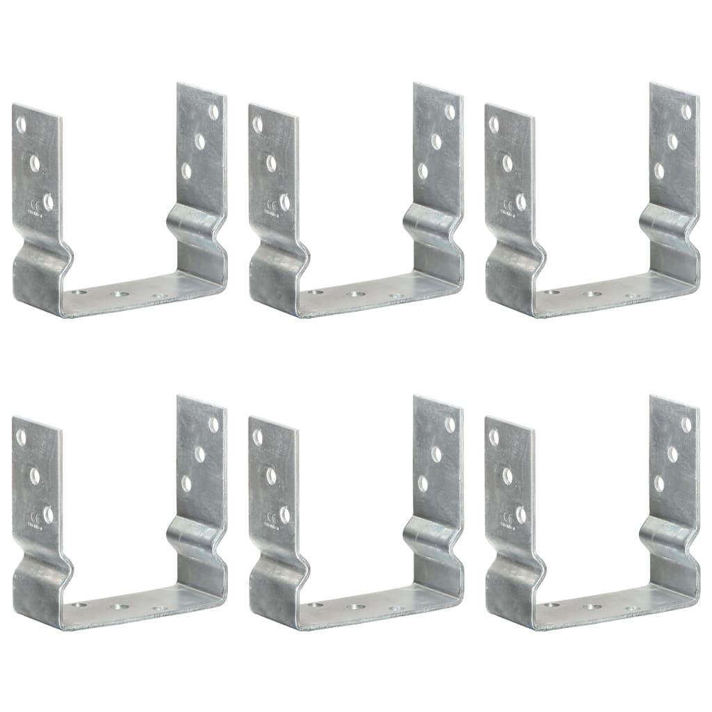 vidaXL Plotové kotvy 6 ks stříbrné 14 x 6 x 15 cm pozinkovaná ocel