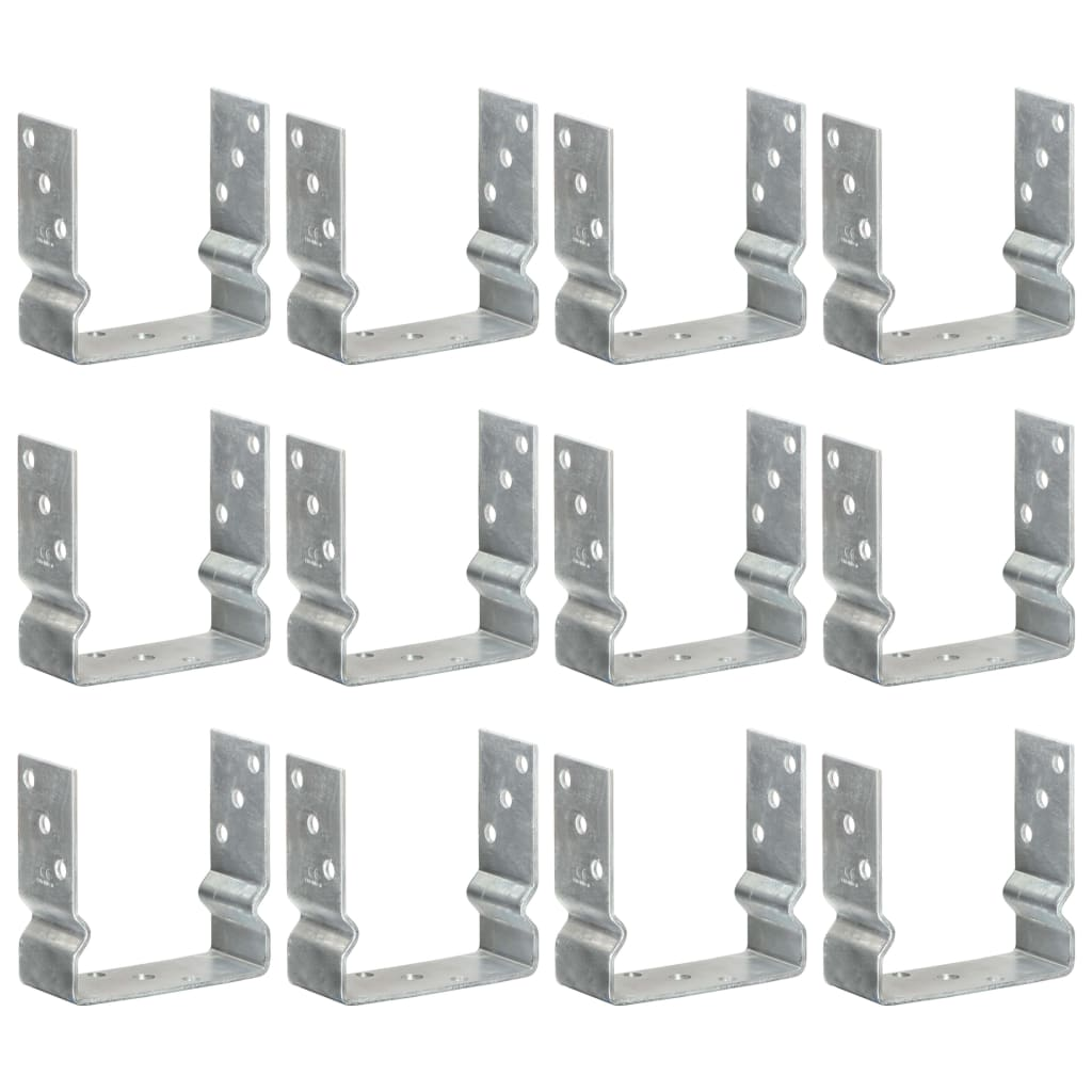 vidaXL Ancore de gard, 12 buc., argintiu, 14x6x15 cm, oțel galvanizat vidaxl.ro
