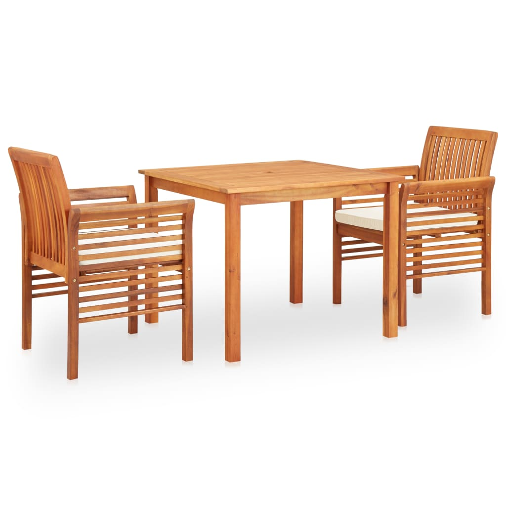vidaXL Set mobilier de exterior cu perne 3 piese, lemn masiv de acacia poza 2021 vidaXL
