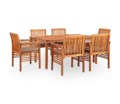 vidaXL 7 Piece Outdoor Dining Set with Cushions Solid Acacia Wood