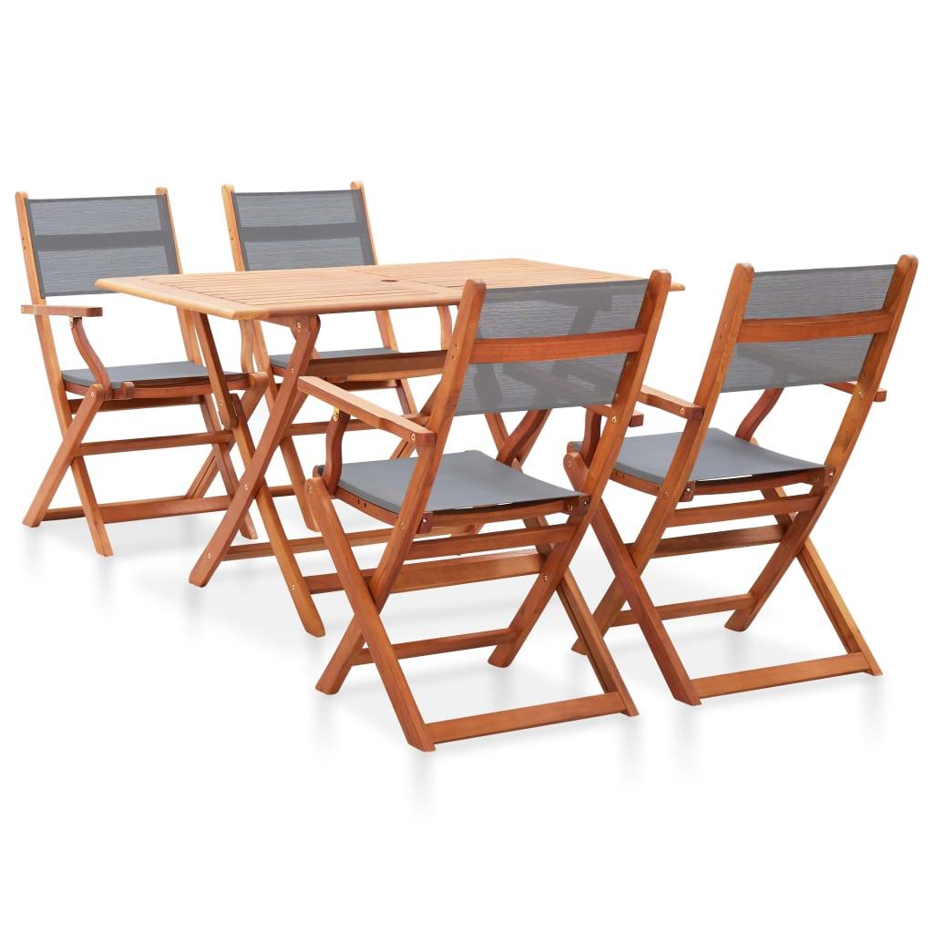 vidaXL Set mobilier de exterior, 5 piese, gri, lemn masiv eucalipt vidaxl.ro