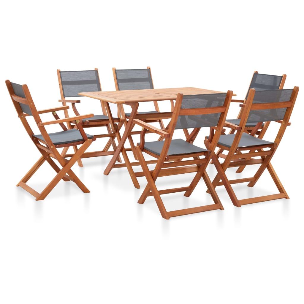 vidaXL Set mobilier de exterior, 7 piese, gri, lemn masiv de eucalipt poza vidaxl.ro