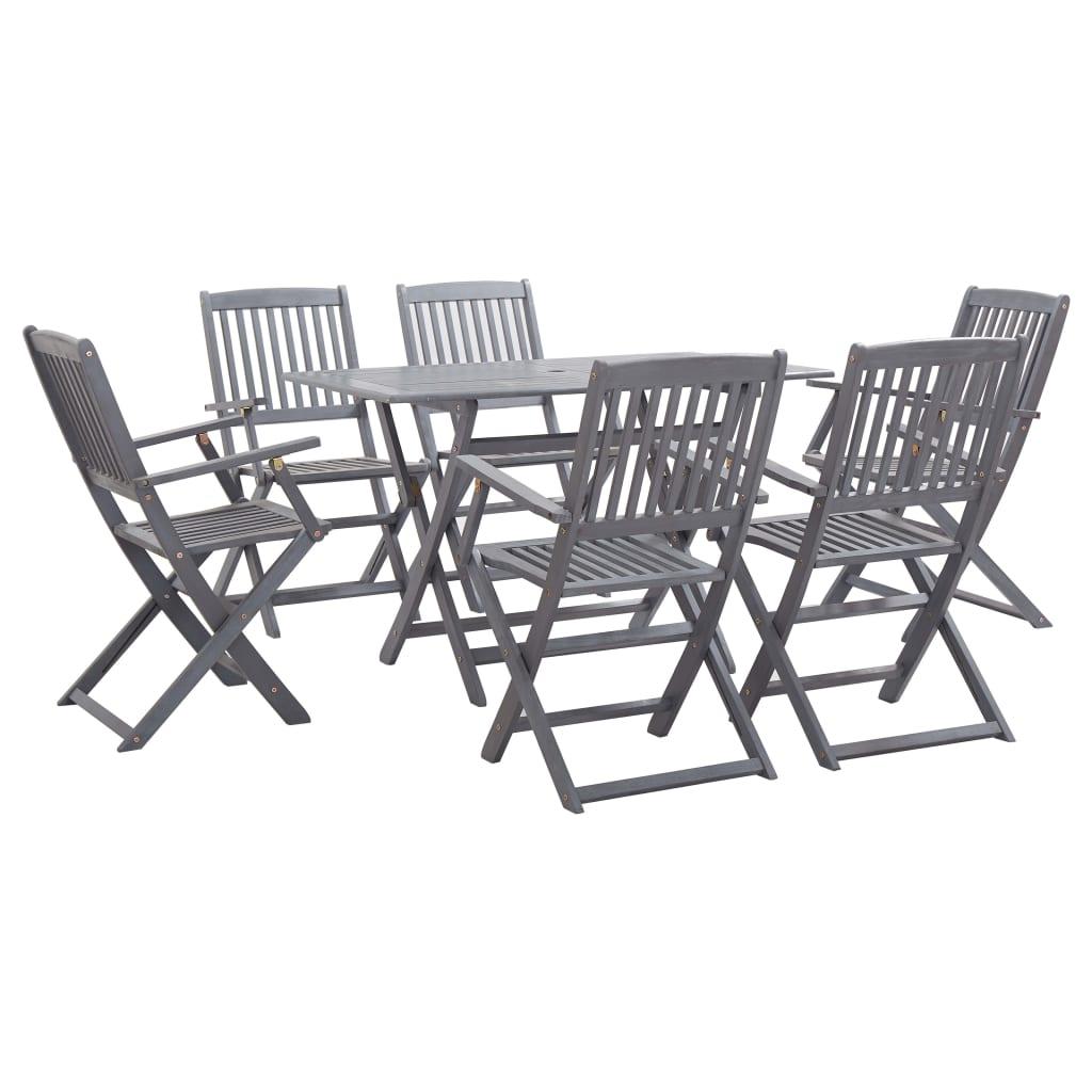 vidaXL Set mobilier de grădină, 7 piese, gri, lemn masiv de acacia poza 2021 vidaXL