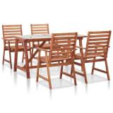 vidaXL Meuble à dîner de jardin 5pcs Carreau mosaïque et bois d'acacia