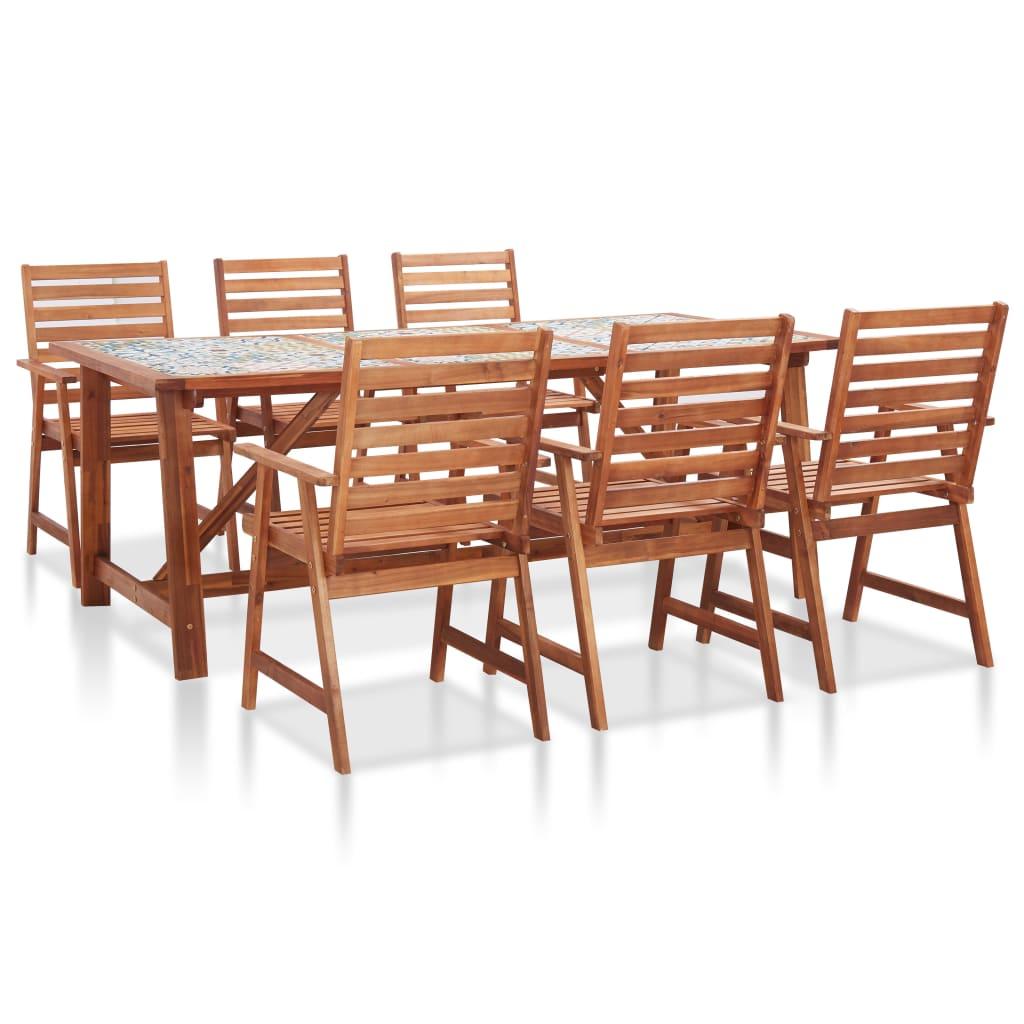 vidaXL Set mobilier de grădină, blat mozaic, 7 piese, lemn de acacia imagine vidaxl.ro