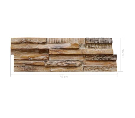 vidaXL 3D sienos apdailos plokštės, 20vnt., 2m², tikmedžio med. mas.[6/6]