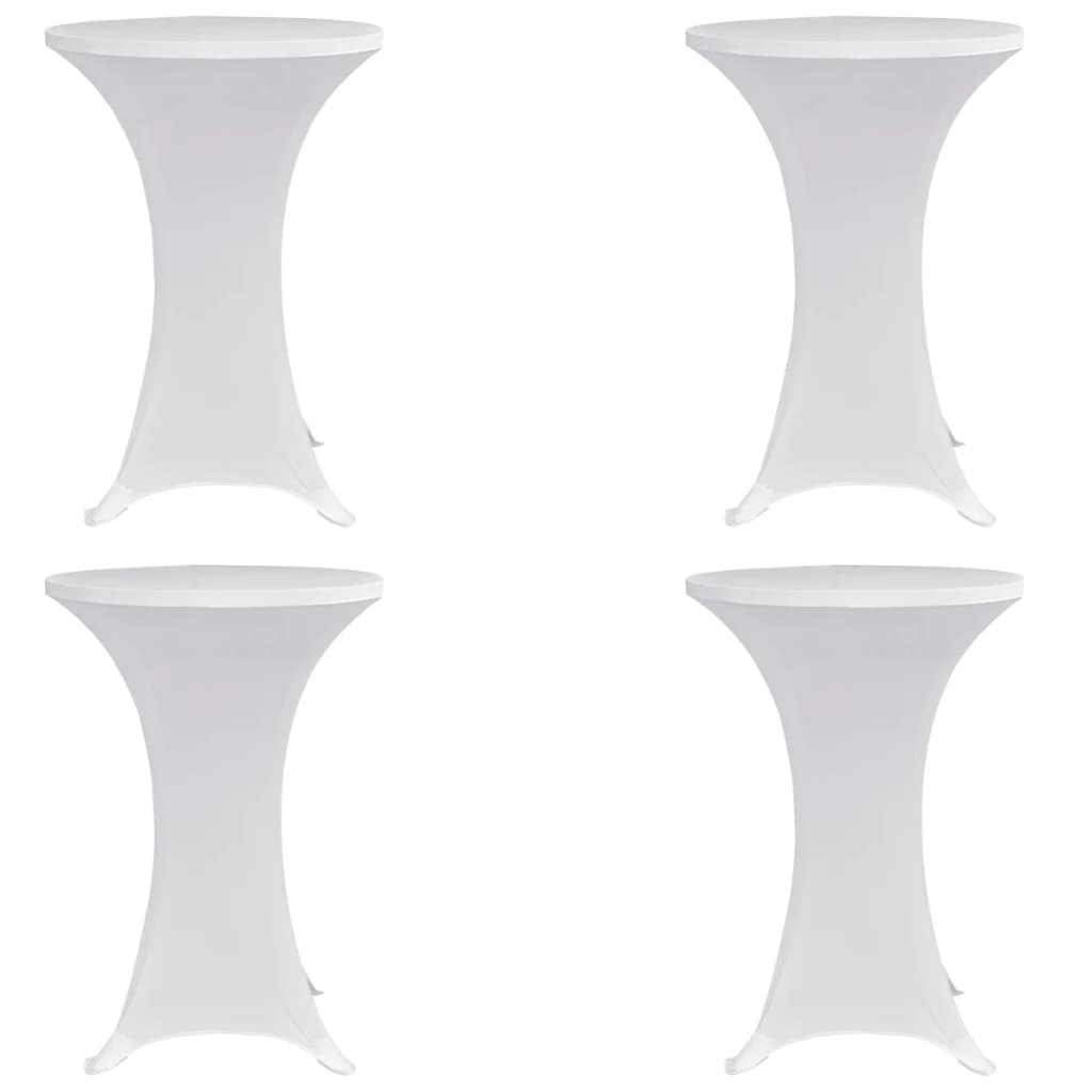 vidaXL Husă de masă cu picior Ø70 cm, 4 buc., alb, elastic poza 2021 vidaXL