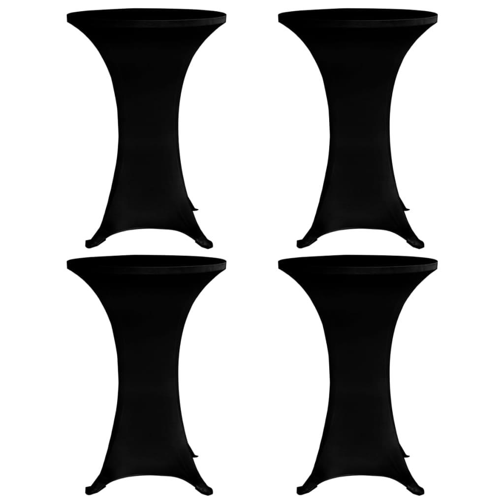 vidaXL Husă de masă cu picior, Ø70 cm, 4 buc., negru, elastic poza vidaxl.ro