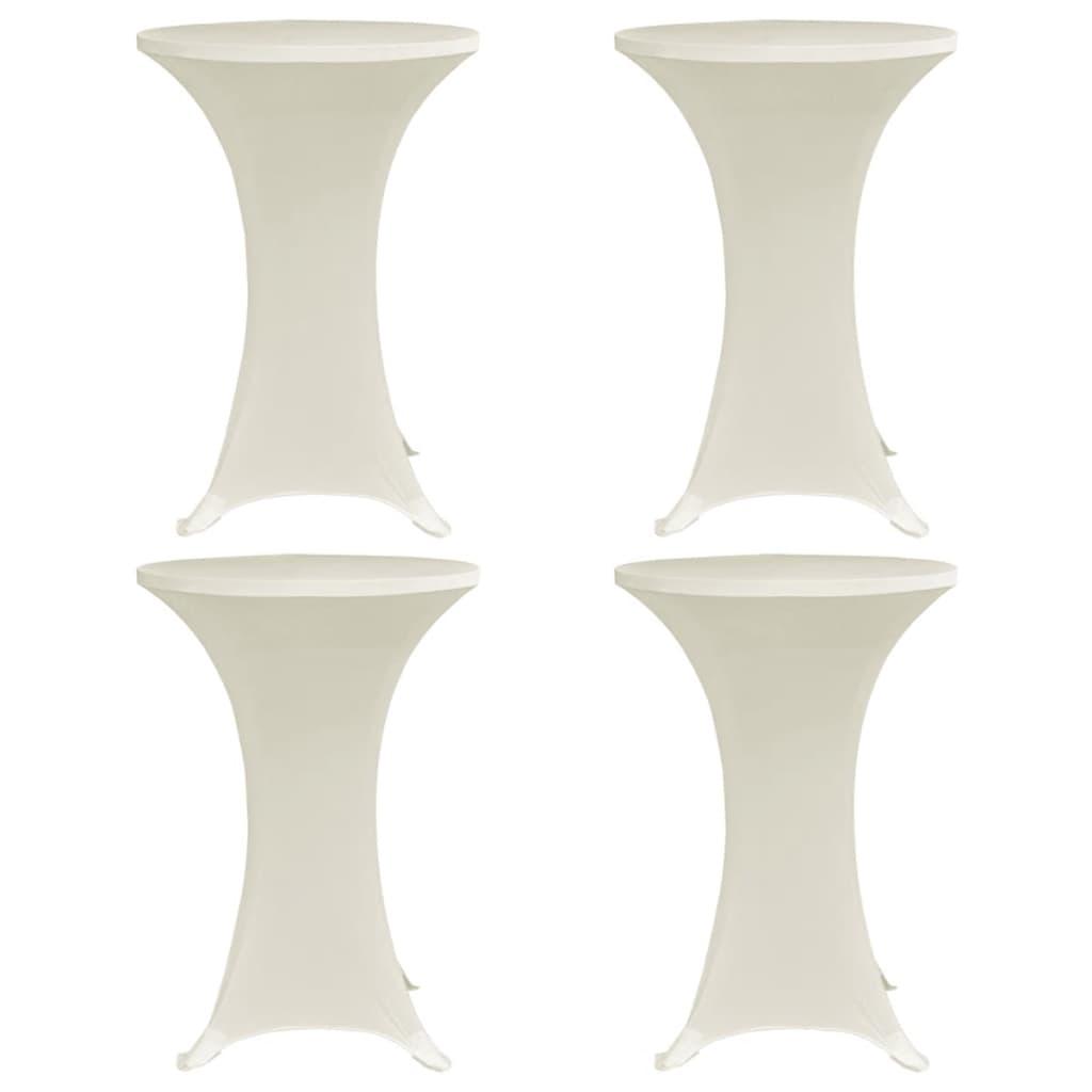 vidaXL Husă de masă cu picior, 4 buc., crem, Ø60 cm, elastic vidaxl.ro