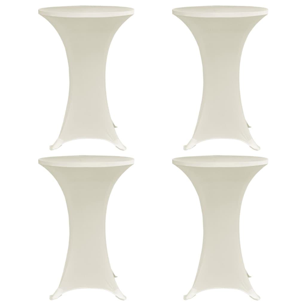 vidaXL Husă de masă cu picior, 4 buc., crem, Ø80 cm elastic vidaxl.ro