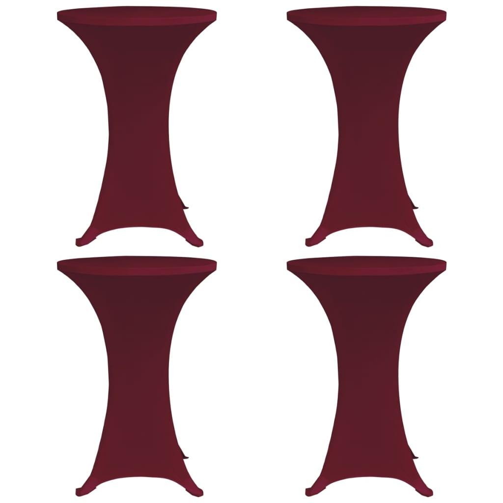 vidaXL Husă elastică de masă cu picior, 4 buc., grena, Ø70 cm poza vidaxl.ro